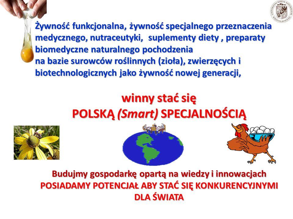 Żywność funkcjonalna, żywność specjalnego przeznaczenia medycznego, nutraceutyki, suplementy diety, preparaty biomedyczne naturalnego pochodzenia na bazie surowców roślinnych (zioła), zwierzęcych i biotechnologicznych jako żywność nowej generacji, winny stać się POLSKĄ (Smart) SPECJALNOŚCIĄ Budujmy gospodarkę opartą na wiedzy i innowacjach POSIADAMY POTENCJAŁ ABY STAĆ SIĘ KONKURENCYJNYMI DLA ŚWIATA