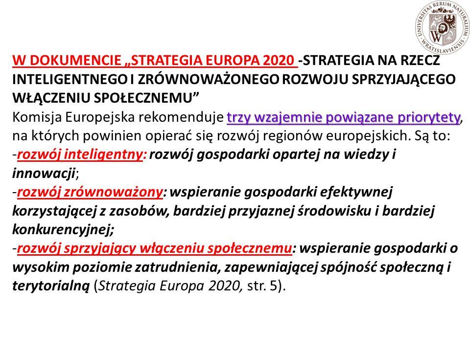 """W DOKUMENCIE """"STRATEGIA EUROPA 2020 -STRATEGIA NA RZECZ INTELIGENTNEGO I ZRÓWNOWAŻONEGO ROZWOJU SPRZYJAJĄCEGO WŁĄCZENIU SPOŁECZNEMU trzy wzajemnie powiązane priorytety Komisja Europejska rekomenduje trzy wzajemnie powiązane priorytety, na których powinien opierać się rozwój regionów europejskich."""