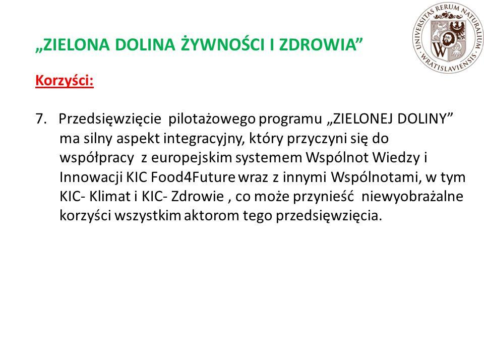 """""""ZIELONA DOLINA ŻYWNOŚCI I ZDROWIA Korzyści: 7."""