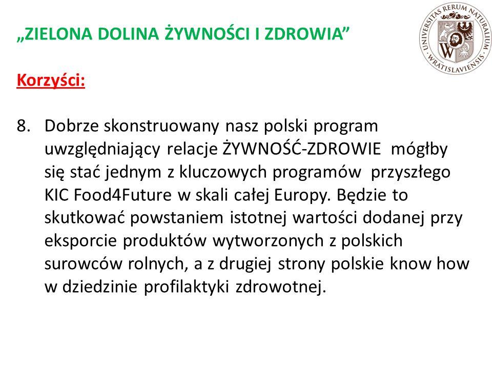 """""""ZIELONA DOLINA ŻYWNOŚCI I ZDROWIA Korzyści: 8."""