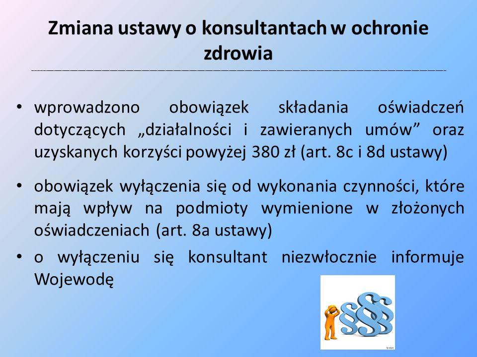 Zmiana ustawy o konsultantach w ochronie zdrowia c.d.