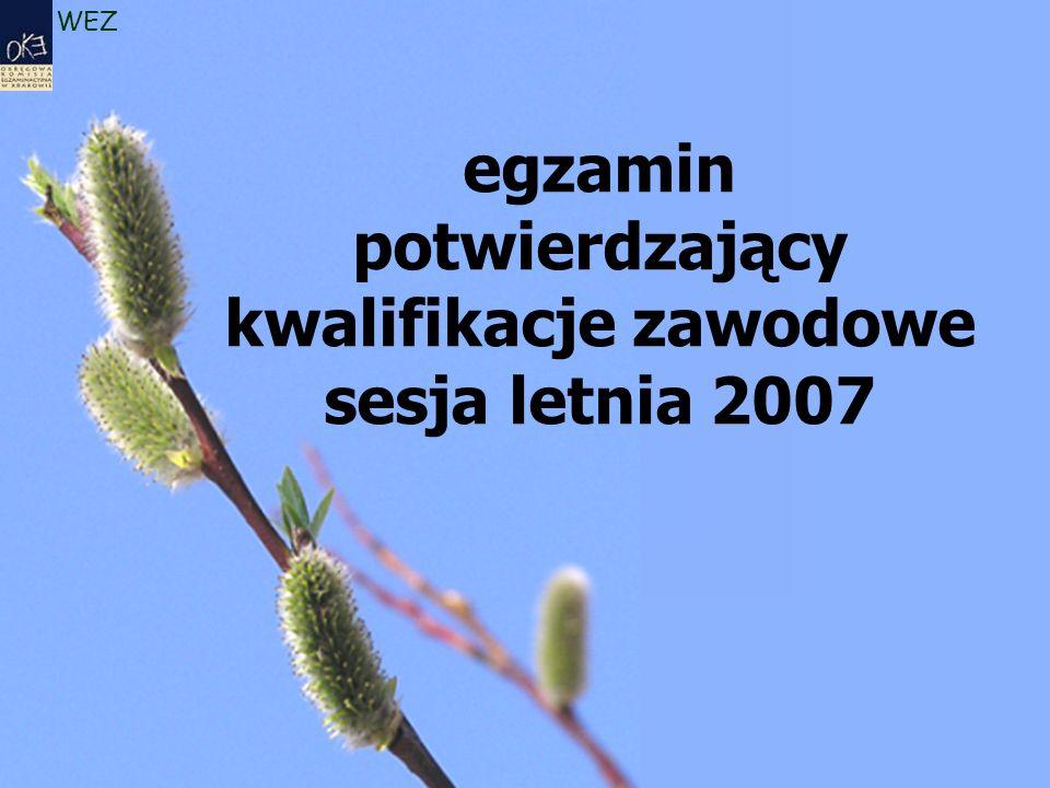 WEZ egzamin potwierdzający kwalifikacje zawodowe sesja letnia 2007