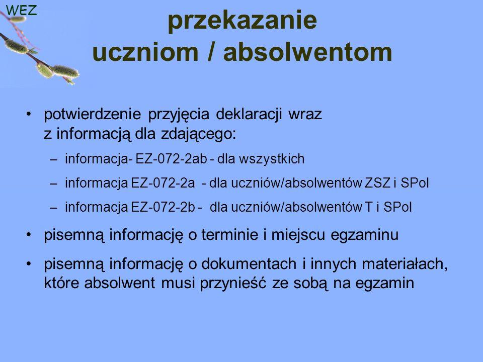 WEZ przekazanie uczniom / absolwentom potwierdzenie przyjęcia deklaracji wraz z informacją dla zdającego: –informacja- EZ-072-2ab - dla wszystkich –informacja EZ-072-2a - dla uczniów/absolwentów ZSZ i SPol –informacja EZ-072-2b - dla uczniów/absolwentów T i SPol pisemną informację o terminie i miejscu egzaminu pisemną informację o dokumentach i innych materiałach, które absolwent musi przynieść ze sobą na egzamin