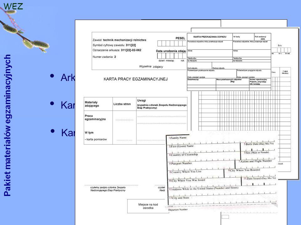 WEZ Arkusz egzaminacyjny Pakiet materiałów egzaminacyjnych Karta pracy egzaminacyjnej, ewentualnie druki, formularze Karta oceny