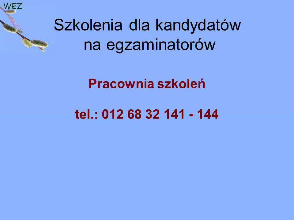 WEZ Szkolenia dla kandydatów na egzaminatorów Pracownia szkoleń tel.: 012 68 32 141 - 144