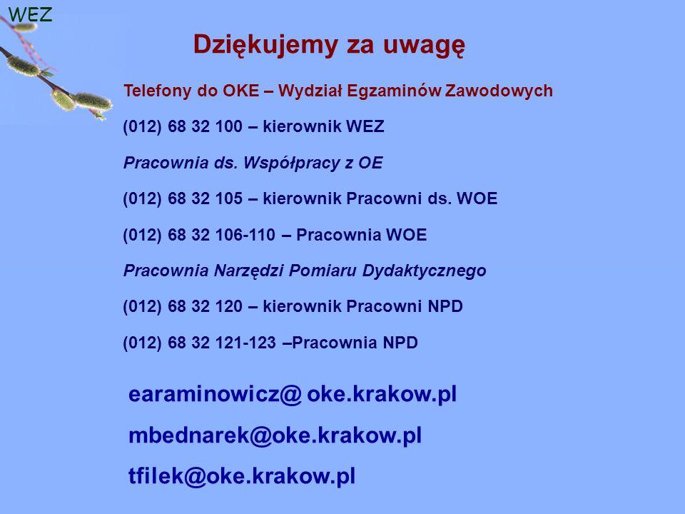 WEZ Dziękujemy za uwagę Telefony do OKE – Wydział Egzaminów Zawodowych (012) 68 32 100 – kierownik WEZ Pracownia ds.