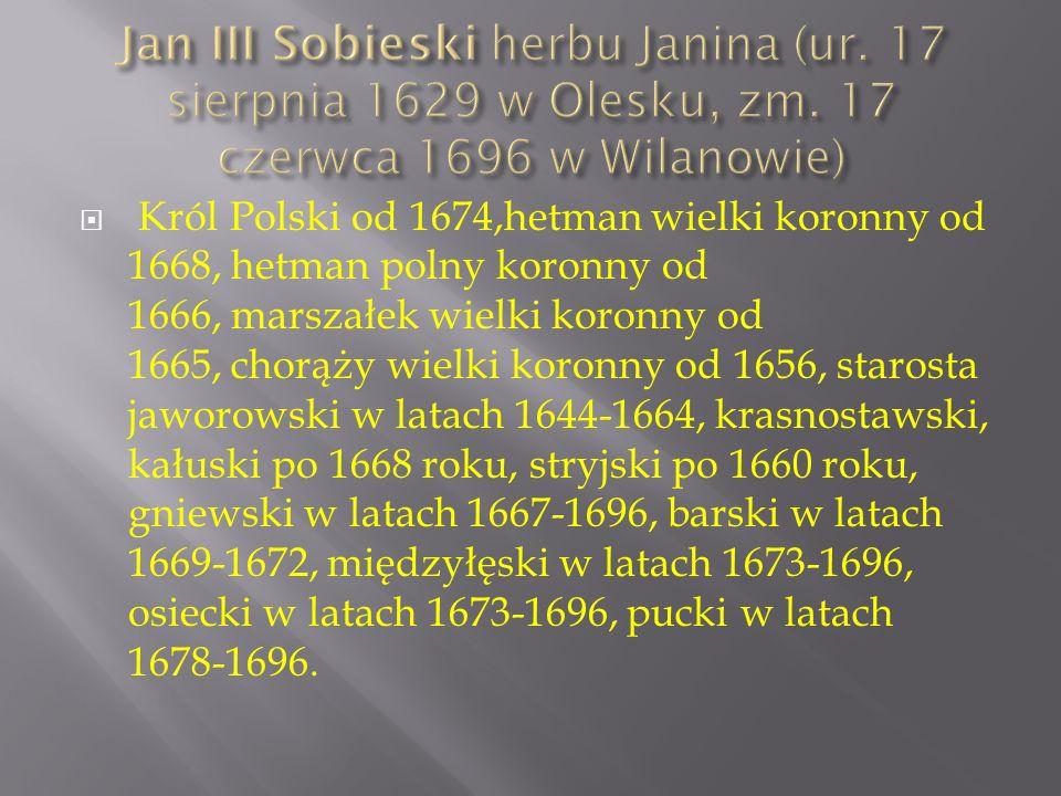  Król Polski od 1674,hetman wielki koronny od 1668, hetman polny koronny od 1666, marszałek wielki koronny od 1665, chorąży wielki koronny od 1656, starosta jaworowski w latach 1644-1664, krasnostawski, kałuski po 1668 roku, stryjski po 1660 roku, gniewski w latach 1667-1696, barski w latach 1669-1672, międzyłęski w latach 1673-1696, osiecki w latach 1673-1696, pucki w latach 1678-1696.