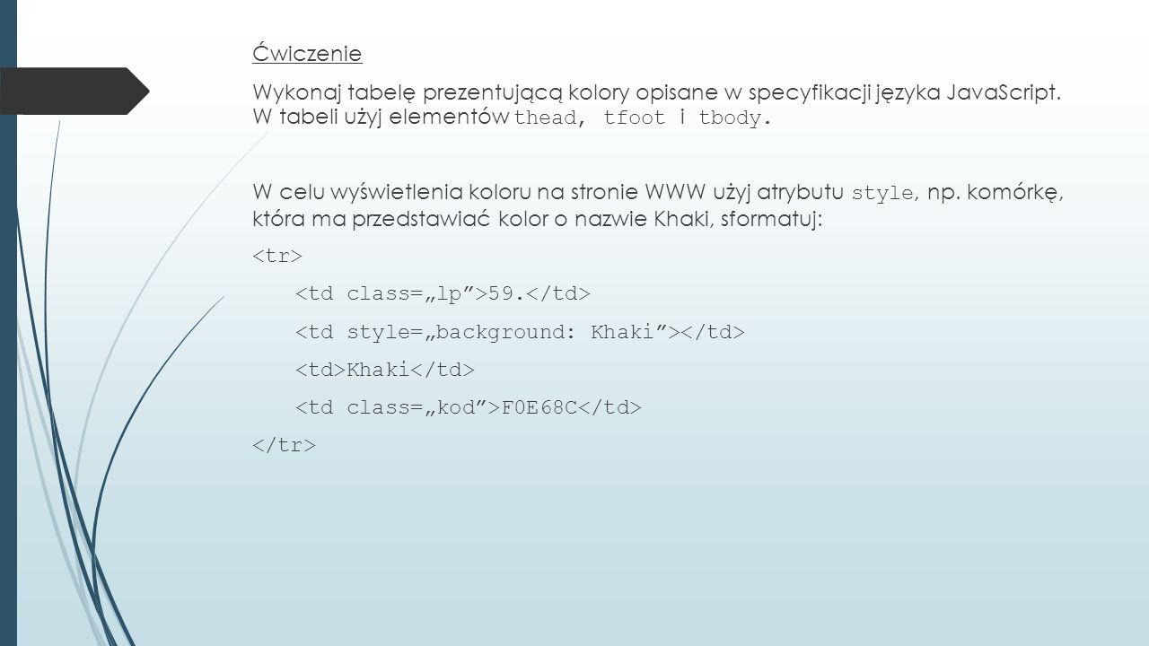 Ćwiczenie Wykonaj tabelę prezentującą kolory opisane w specyfikacji języka JavaScript.