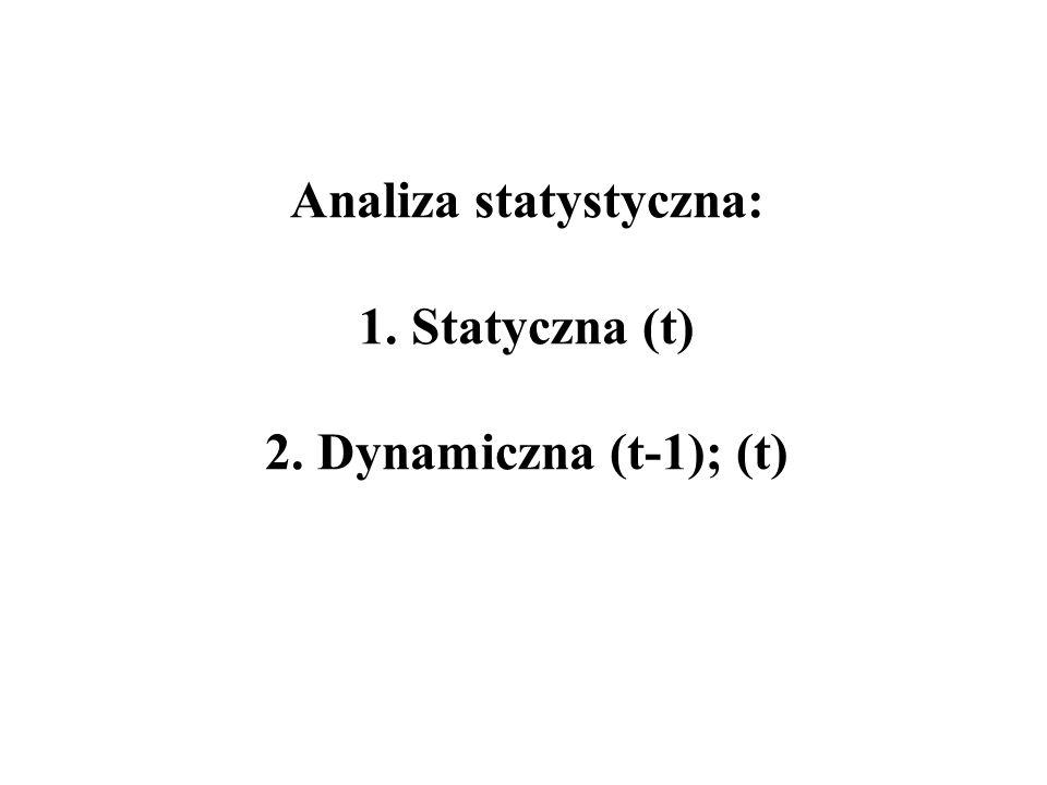 Analiza statystyczna: 1. Statyczna (t) 2. Dynamiczna (t-1); (t)