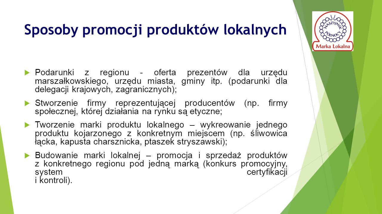 Sposoby promocji produktów lokalnych  Podarunki z regionu - oferta prezentów dla urzędu marszałkowskiego, urzędu miasta, gminy itp.
