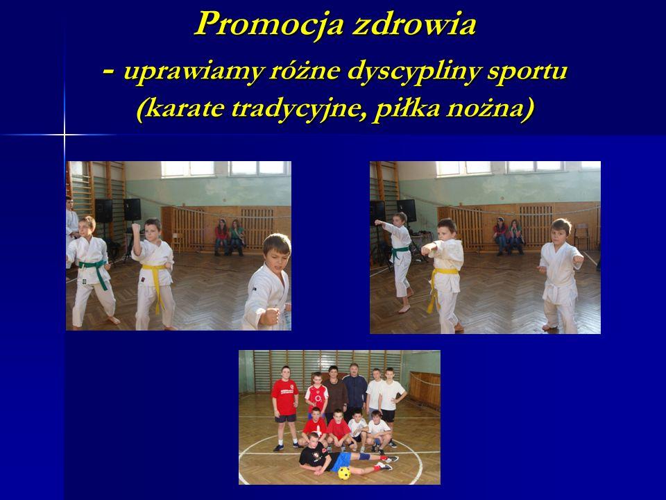 Promocja zdrowia - uprawiamy różne dyscypliny sportu (karate tradycyjne, piłka nożna)