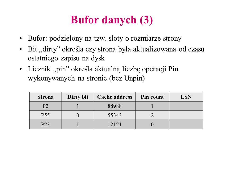 """Bufor danych (3) Bufor: podzielony na tzw. sloty o rozmiarze strony Bit """"dirty"""" określa czy strona była aktualizowana od czasu ostatniego zapisu na dy"""