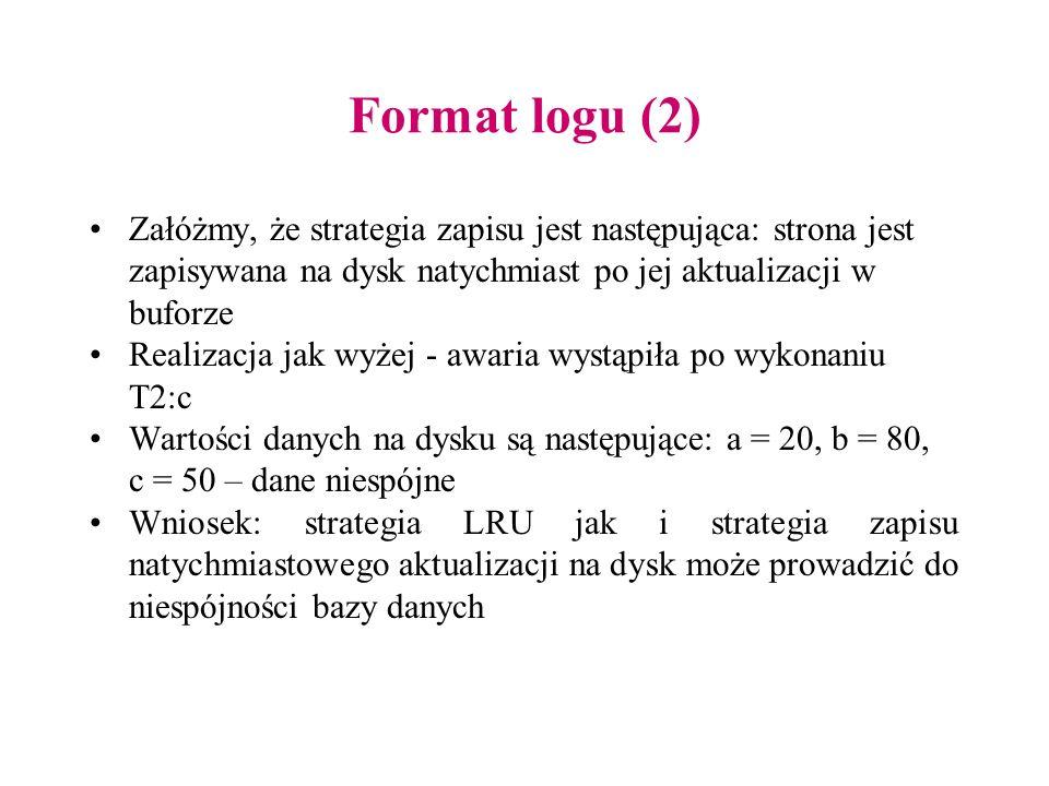 Format logu (2) Załóżmy, że strategia zapisu jest następująca: strona jest zapisywana na dysk natychmiast po jej aktualizacji w buforze Realizacja jak