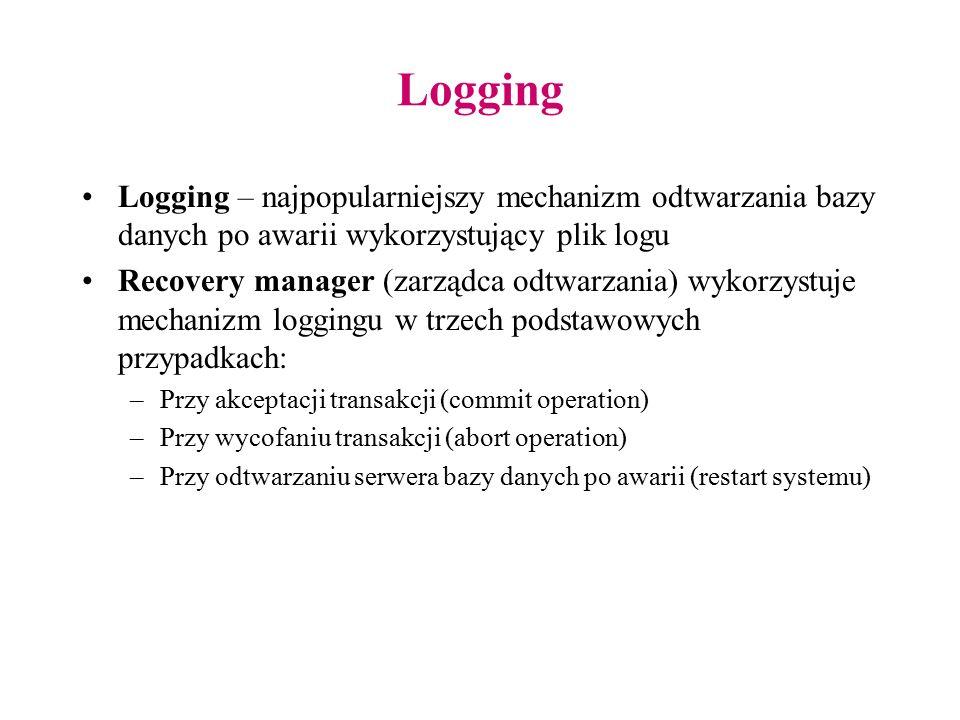Logging Logging – najpopularniejszy mechanizm odtwarzania bazy danych po awarii wykorzystujący plik logu Recovery manager (zarządca odtwarzania) wykor
