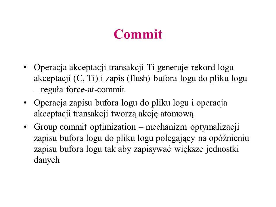 Commit Operacja akceptacji transakcji Ti generuje rekord logu akceptacji (C, Ti) i zapis (flush) bufora logu do pliku logu – reguła force-at-commit Operacja zapisu bufora logu do pliku logu i operacja akceptacji transakcji tworzą akcję atomową Group commit optimization – mechanizm optymalizacji zapisu bufora logu do pliku logu polegający na opóźnieniu zapisu bufora logu tak aby zapisywać większe jednostki danych
