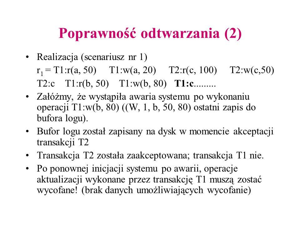 Poprawność odtwarzania (2) Realizacja (scenariusz nr 1) r 1 = T1:r(a, 50) T1:w(a, 20) T2:r(c, 100) T2:w(c,50) T2:c T1:r(b, 50) T1:w(b, 80) T1:c.......
