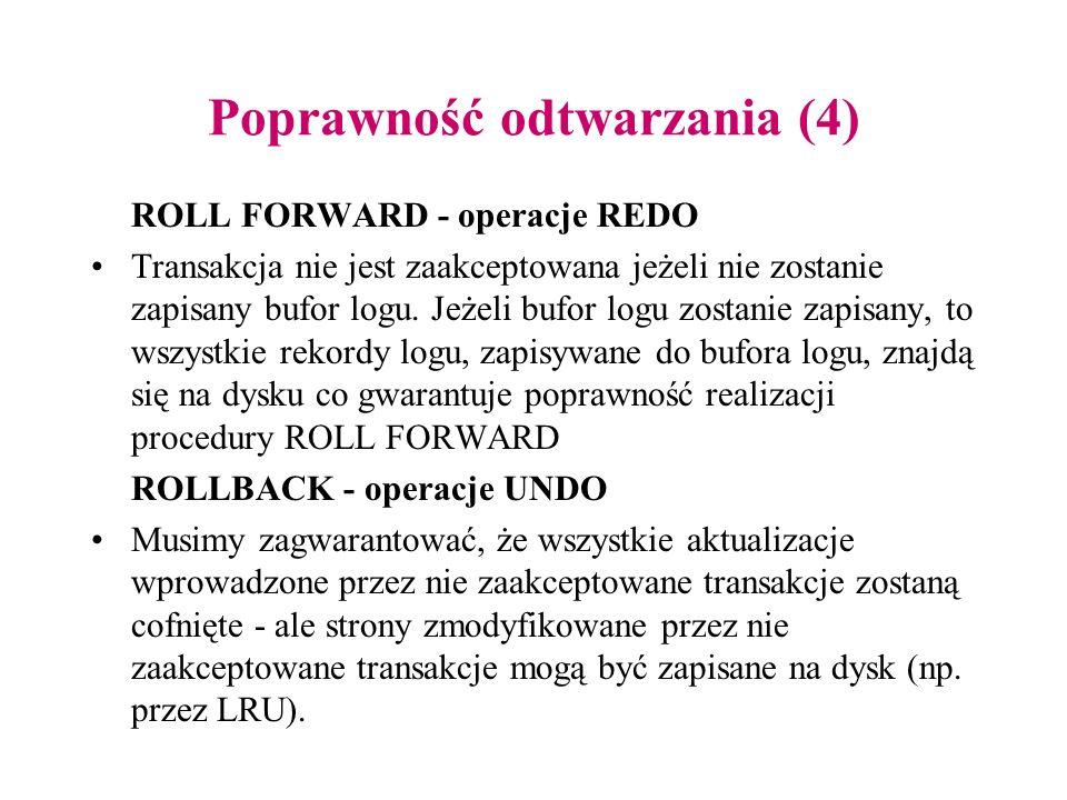 Poprawność odtwarzania (4) ROLL FORWARD - operacje REDO Transakcja nie jest zaakceptowana jeżeli nie zostanie zapisany bufor logu. Jeżeli bufor logu z