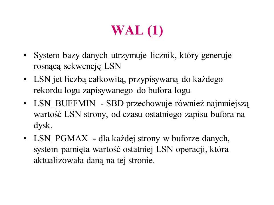 WAL (1) System bazy danych utrzymuje licznik, który generuje rosnącą sekwencję LSN LSN jet liczbą całkowitą, przypisywaną do każdego rekordu logu zapi