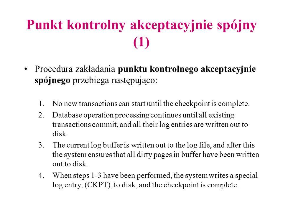Punkt kontrolny akceptacyjnie spójny (1) Procedura zakładania punktu kontrolnego akceptacyjnie spójnego przebiega następująco: 1.No new transactions c