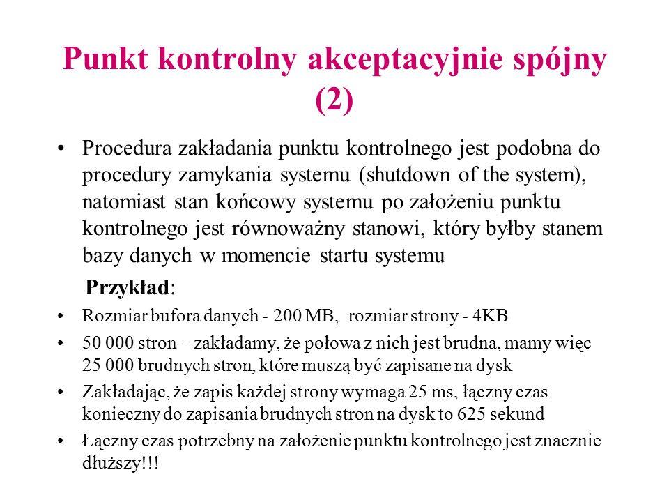 Punkt kontrolny akceptacyjnie spójny (2) Procedura zakładania punktu kontrolnego jest podobna do procedury zamykania systemu (shutdown of the system),