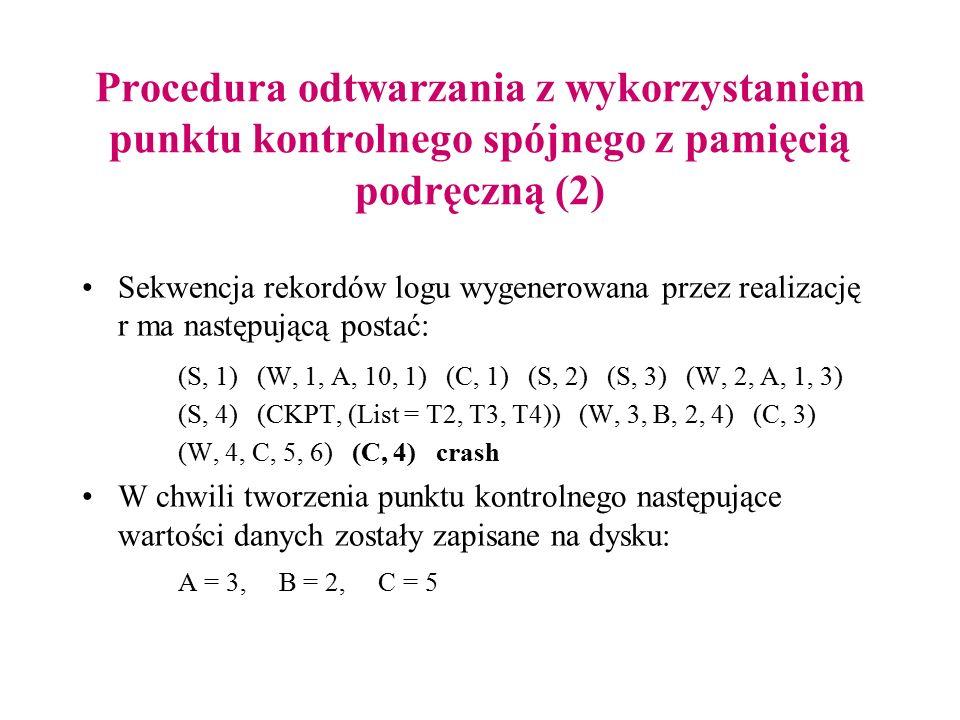 Procedura odtwarzania z wykorzystaniem punktu kontrolnego spójnego z pamięcią podręczną (2) Sekwencja rekordów logu wygenerowana przez realizację r ma