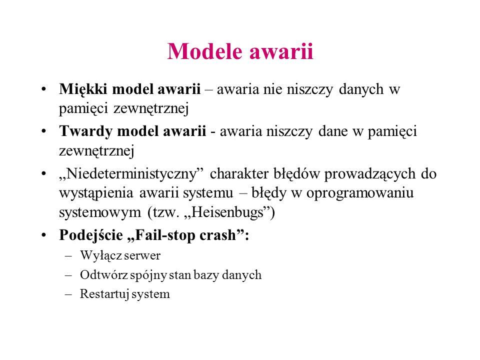 """Modele awarii Miękki model awarii – awaria nie niszczy danych w pamięci zewnętrznej Twardy model awarii - awaria niszczy dane w pamięci zewnętrznej """"N"""