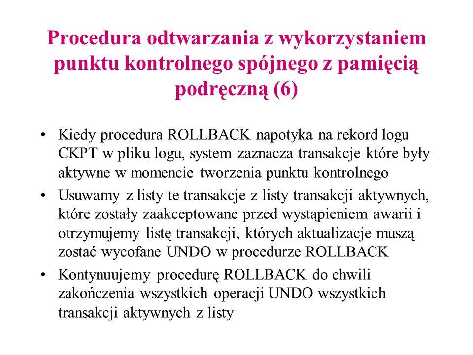 Procedura odtwarzania z wykorzystaniem punktu kontrolnego spójnego z pamięcią podręczną (6) Kiedy procedura ROLLBACK napotyka na rekord logu CKPT w pl