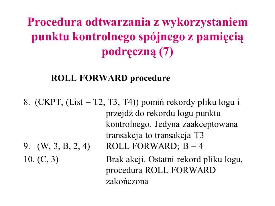 Procedura odtwarzania z wykorzystaniem punktu kontrolnego spójnego z pamięcią podręczną (7) ROLL FORWARD procedure 8. (CKPT, (List = T2, T3, T4)) pomi