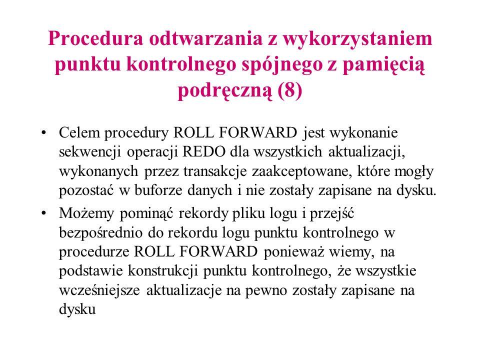 Procedura odtwarzania z wykorzystaniem punktu kontrolnego spójnego z pamięcią podręczną (8) Celem procedury ROLL FORWARD jest wykonanie sekwencji oper