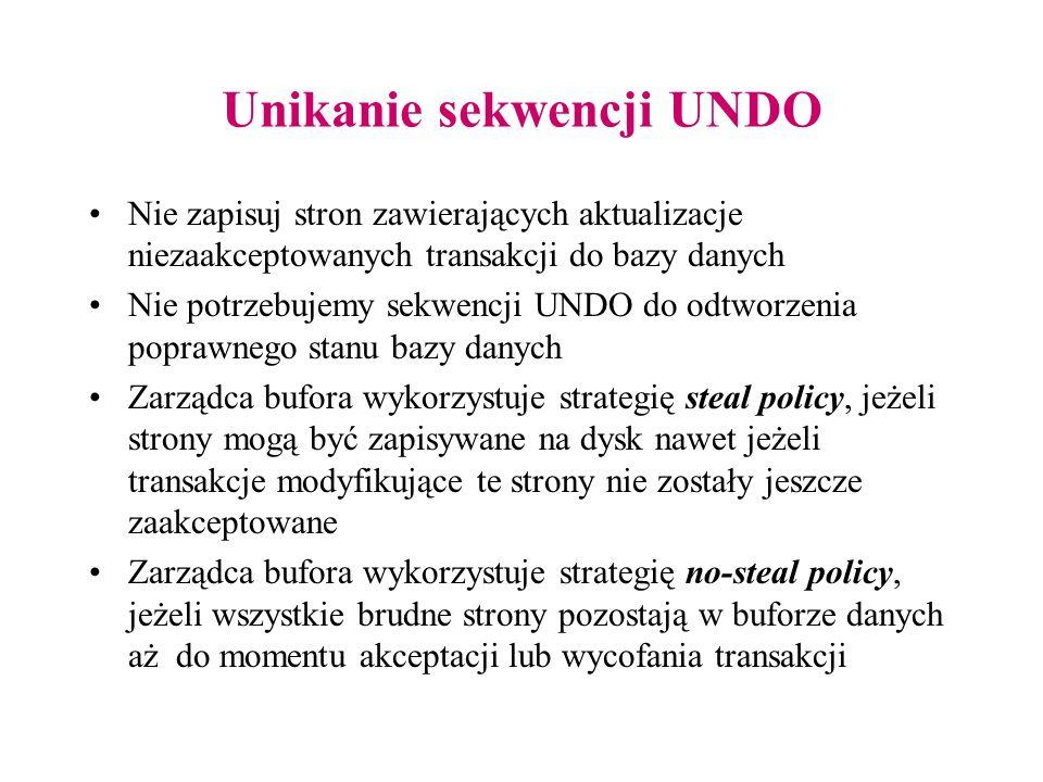 Unikanie sekwencji UNDO Nie zapisuj stron zawierających aktualizacje niezaakceptowanych transakcji do bazy danych Nie potrzebujemy sekwencji UNDO do o