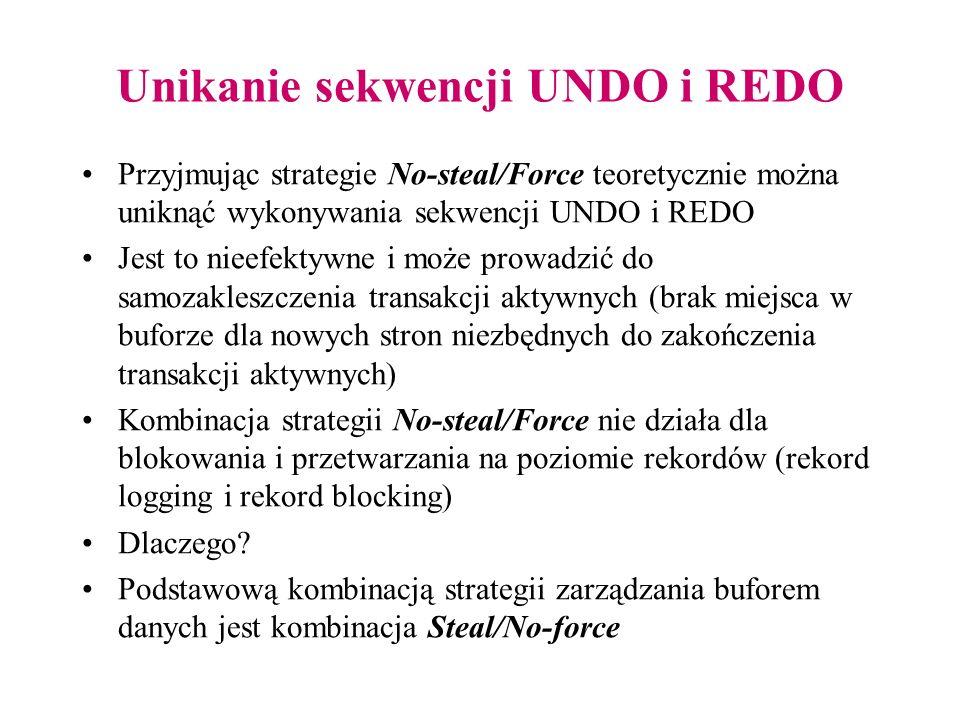 Unikanie sekwencji UNDO i REDO Przyjmując strategie No-steal/Force teoretycznie można uniknąć wykonywania sekwencji UNDO i REDO Jest to nieefektywne i