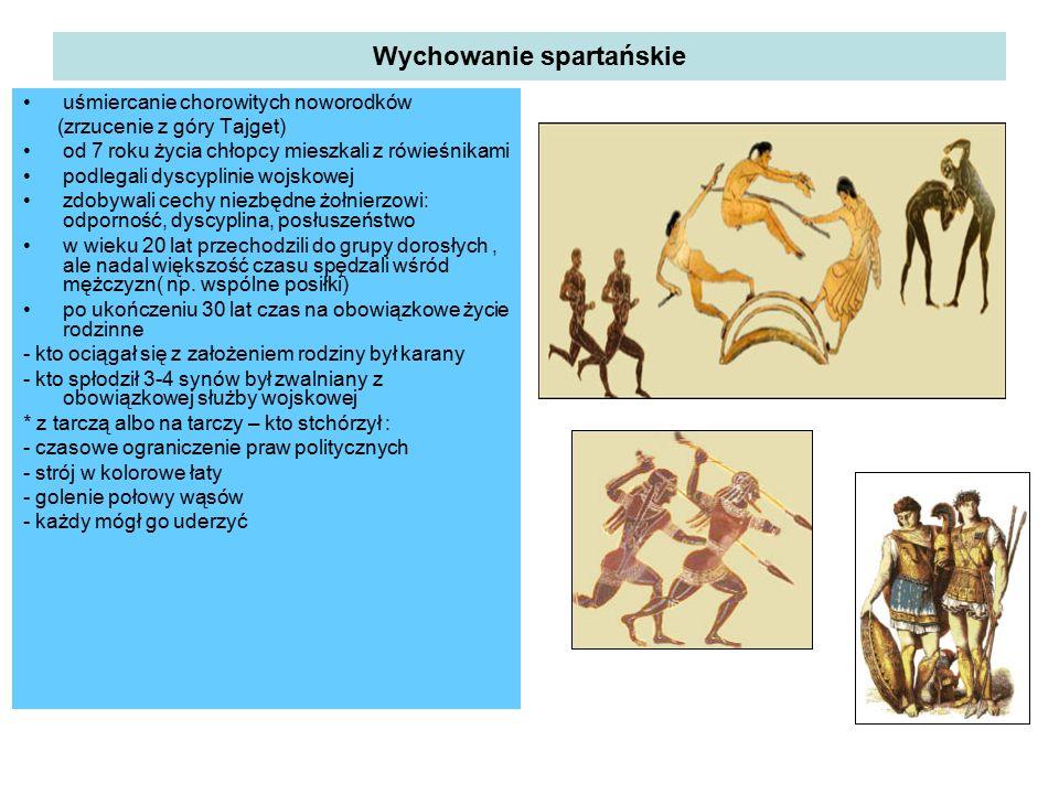 Wychowanie spartańskie uśmiercanie chorowitych noworodków (zrzucenie z góry Tajget) od 7 roku życia chłopcy mieszkali z rówieśnikami podlegali dyscypl