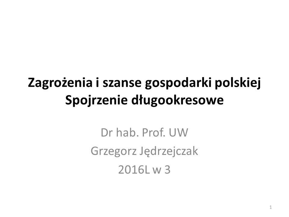 Zagrożenia i szanse gospodarki polskiej Spojrzenie długookresowe Dr hab. Prof. UW Grzegorz Jędrzejczak 2016L w 3 1