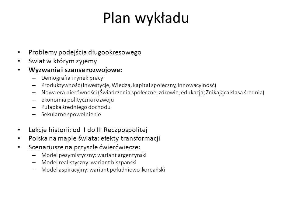 Plan wykładu Problemy podejścia długookresowego Świat w którym żyjemy Wyzwania i szanse rozwojowe: – Demografia i rynek pracy – Produktywność (Inwesty