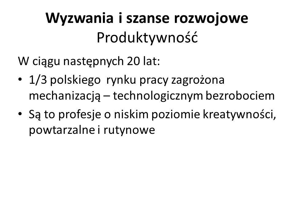 W ciągu następnych 20 lat: 1/3 polskiego rynku pracy zagrożona mechanizacją – technologicznym bezrobociem Są to profesje o niskim poziomie kreatywnośc