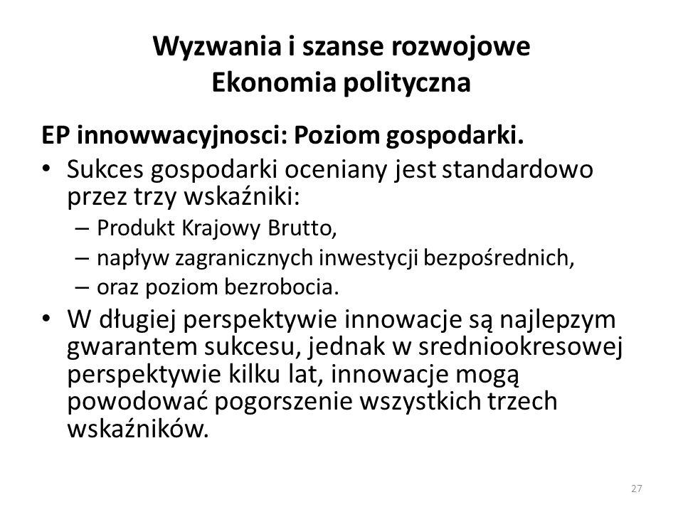 Wyzwania i szanse rozwojowe Ekonomia polityczna EP innowwacyjnosci: Poziom gospodarki. Sukces gospodarki oceniany jest standardowo przez trzy wskaźnik