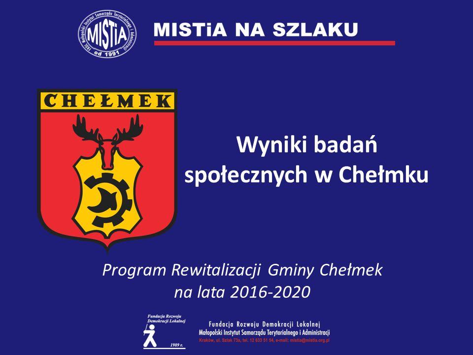 Wyniki badań społecznych w Chełmku Program Rewitalizacji Gminy Chełmek na lata 2016-2020
