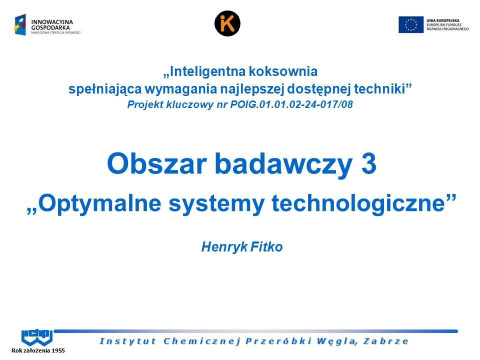 """I n s t y t u t C h e m i c z n e j P r z e r ó b k i W ę g l a, Z a b r z e Rok założenia 1955 Obszar badawczy 3 """"Optymalne systemy technologiczne"""" H"""