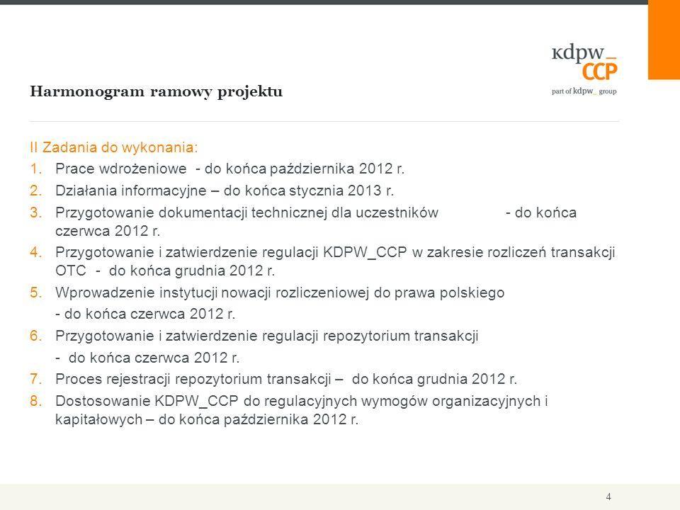 Harmonogram ramowy projektu 4 II Zadania do wykonania: 1.Prace wdrożeniowe - do końca października 2012 r.