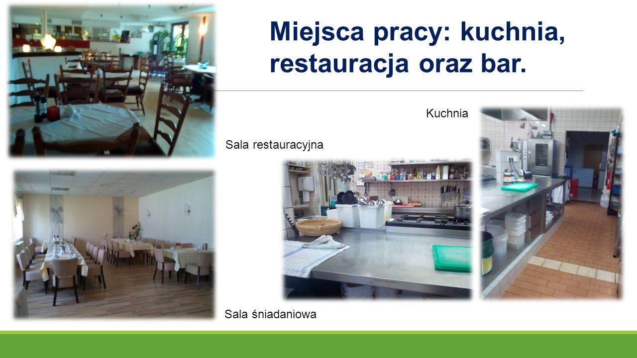 Sala restauracyjna Sala śniadaniowa Miejsca pracy: kuchnia, restauracja oraz bar. Kuchnia