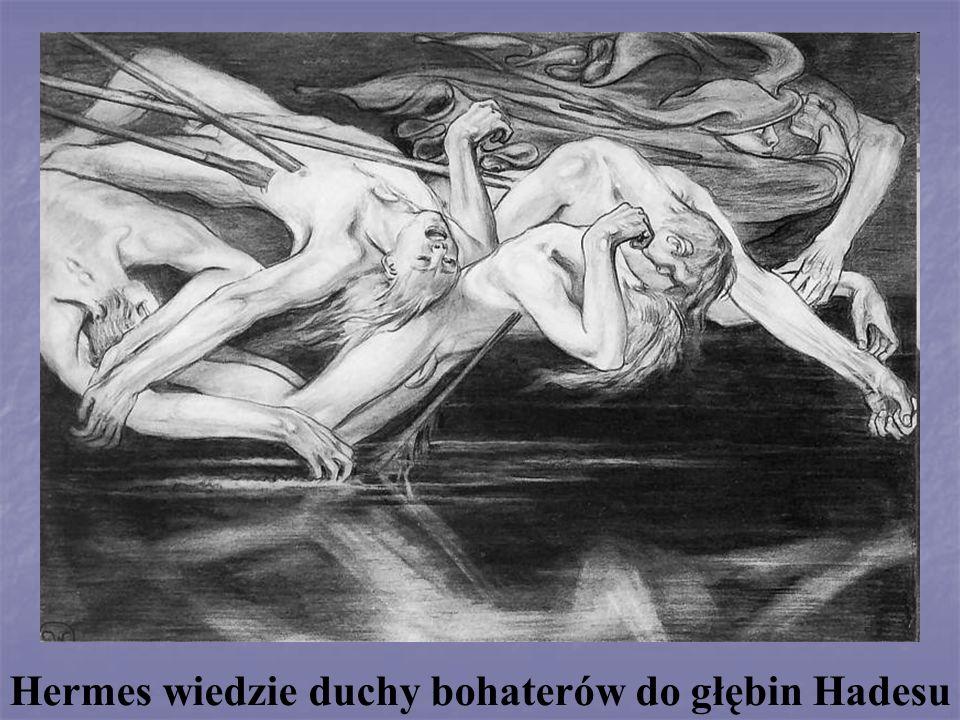 Hermes wiedzie duchy bohaterów do głębin Hadesu