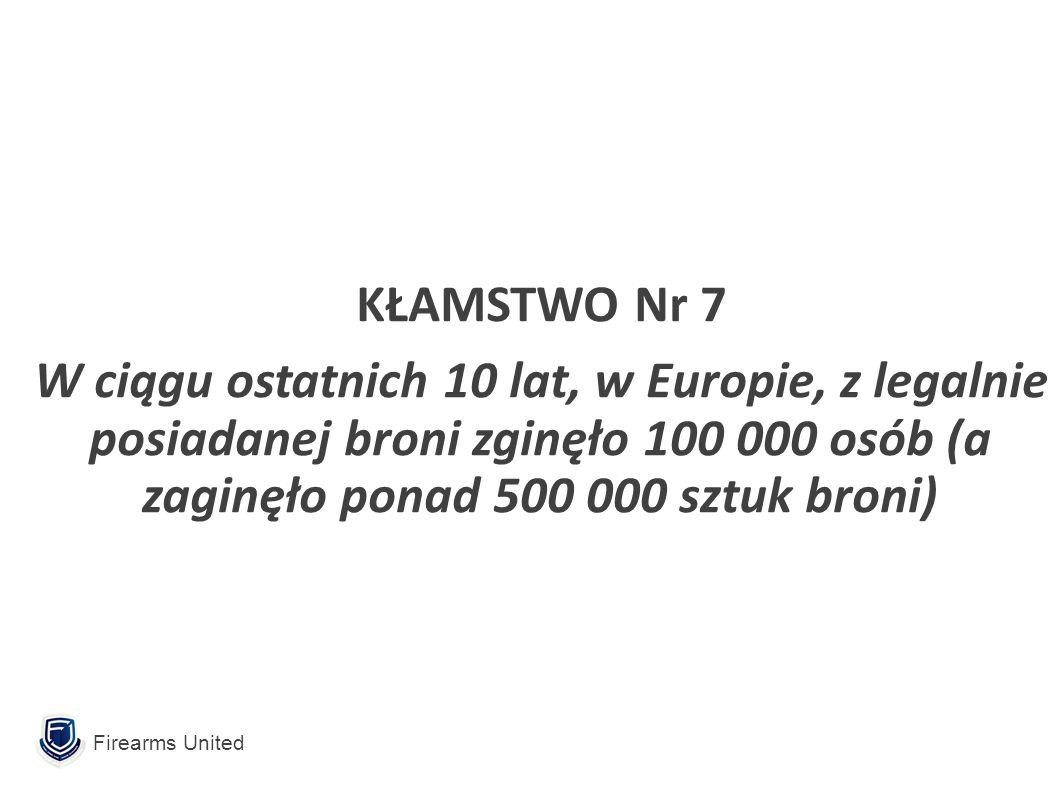 Firearms United KŁAMSTWO Nr 7 W ciągu ostatnich 10 lat, w Europie, z legalnie posiadanej broni zginęło 100 000 osób (a zaginęło ponad 500 000 sztuk broni)