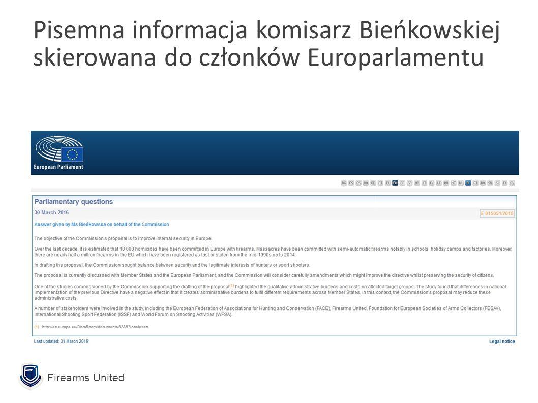 Firearms United Pisemna informacja komisarz Bieńkowskiej skierowana do członków Europarlamentu