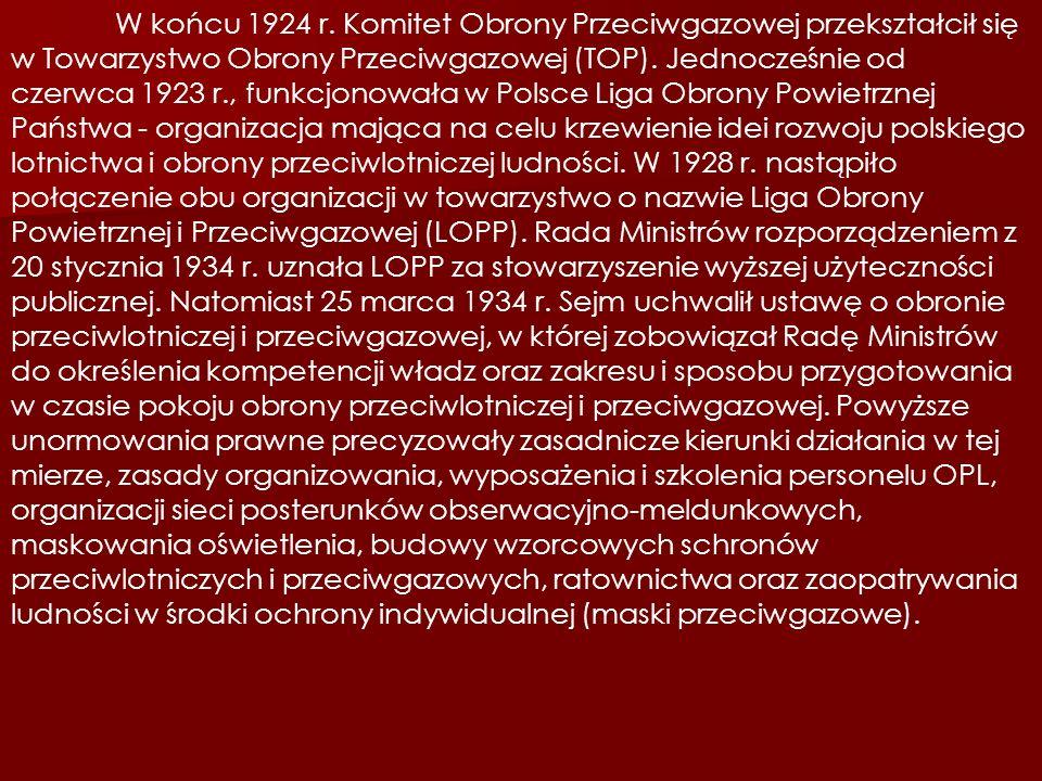W końcu 1924 r. Komitet Obrony Przeciwgazowej przekształcił się w Towarzystwo Obrony Przeciwgazowej (TOP). Jednocześnie od czerwca 1923 r., funkcjonow