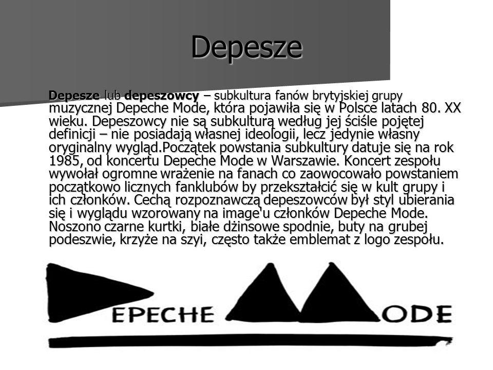 Depesze Depesze lub depeszowcy – subkultura fanów brytyjskiej grupy muzycznej Depeche Mode, która pojawiła się w Polsce latach 80.