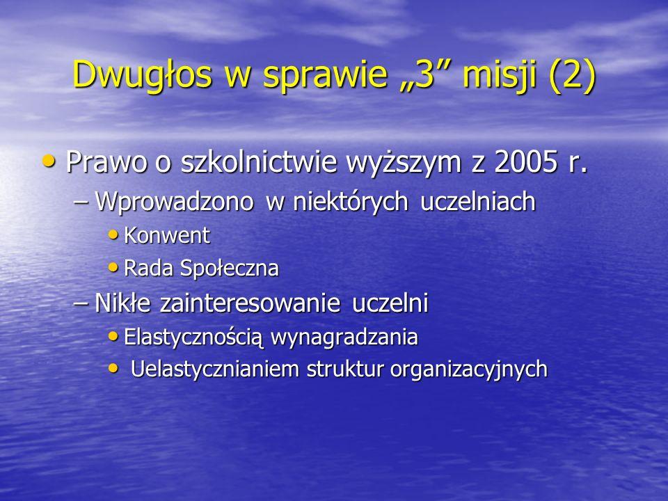 """Dwugłos w sprawie """"3"""" misji (2) Prawo o szkolnictwie wyższym z 2005 r. Prawo o szkolnictwie wyższym z 2005 r. –Wprowadzono w niektórych uczelniach Kon"""