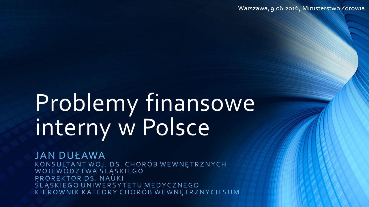 Problemy finansowe interny w Polsce JAN DUŁAWA KONSULTANT WOJ.