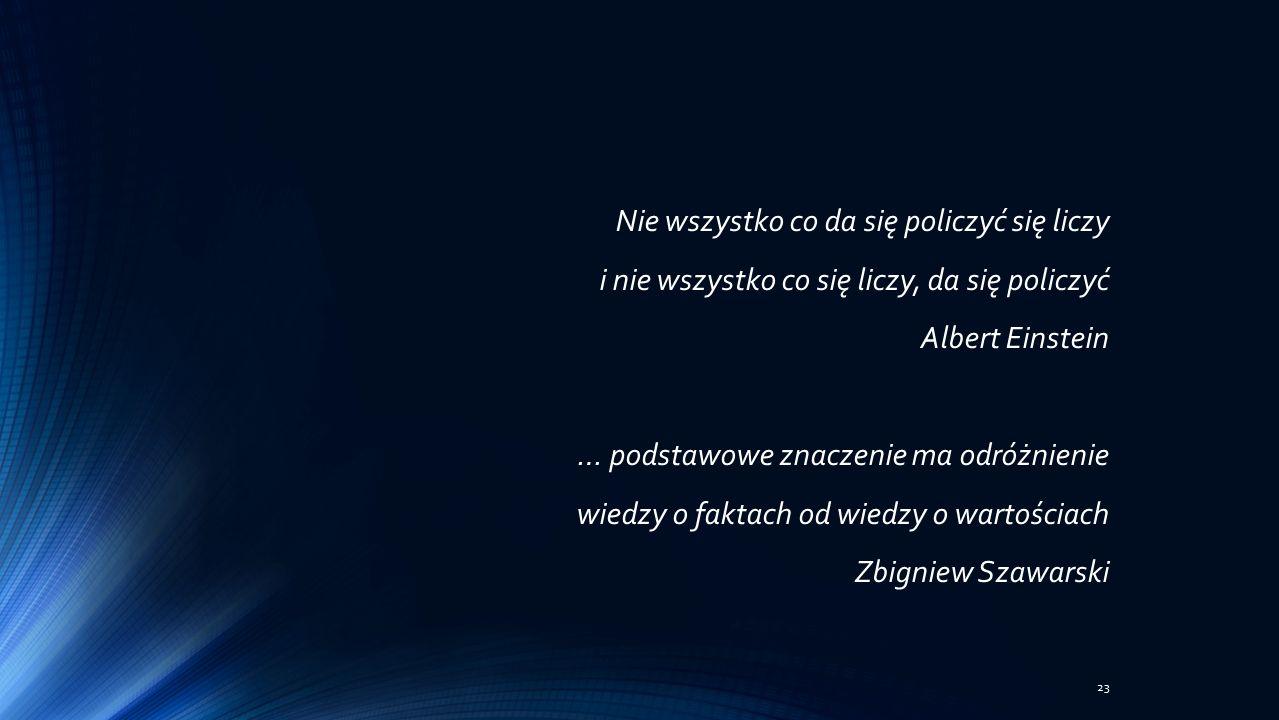 Nie wszystko co da się policzyć się liczy i nie wszystko co się liczy, da się policzyć Albert Einstein … podstawowe znaczenie ma odróżnienie wiedzy o faktach od wiedzy o wartościach Zbigniew Szawarski 23