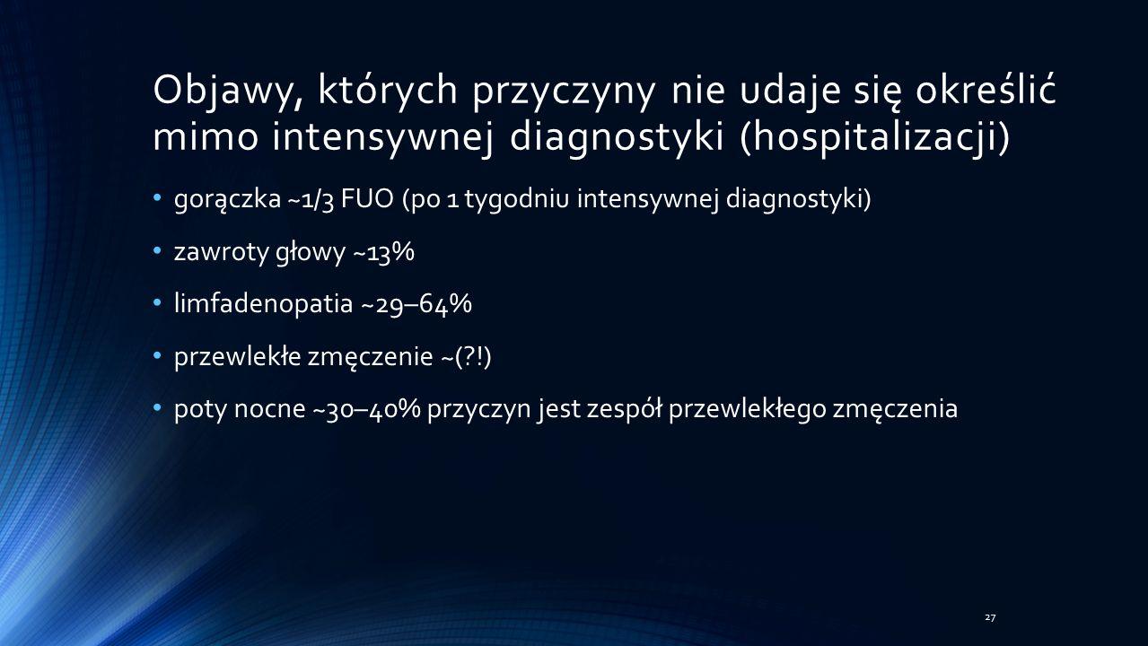 Objawy, których przyczyny nie udaje się określić mimo intensywnej diagnostyki (hospitalizacji) gorączka ~1/3 FUO (po 1 tygodniu intensywnej diagnostyki) zawroty głowy ~13% limfadenopatia ~29–64% przewlekłe zmęczenie ~( !) poty nocne ~30–40% przyczyn jest zespół przewlekłego zmęczenia 27
