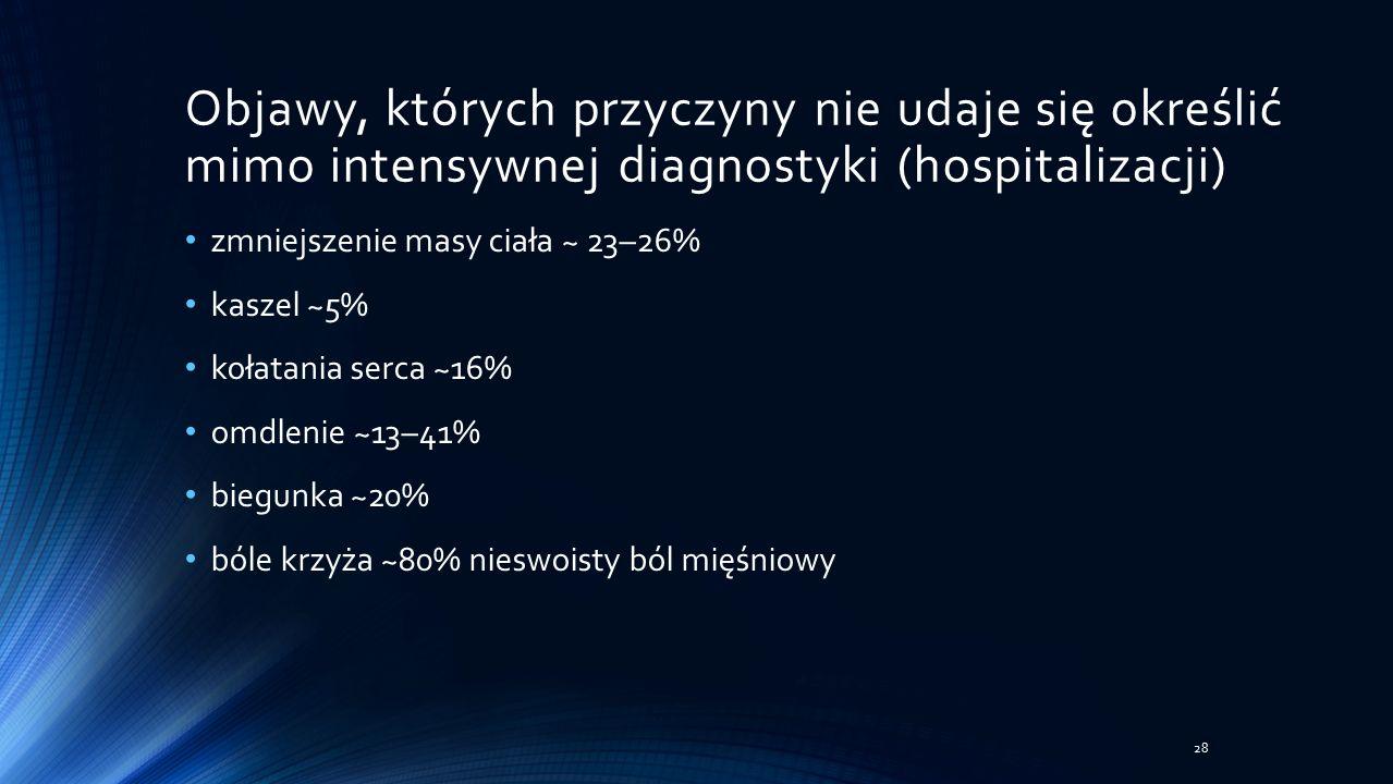 Objawy, których przyczyny nie udaje się określić mimo intensywnej diagnostyki (hospitalizacji) zmniejszenie masy ciała ~ 23–26% kaszel ~5% kołatania serca ~16% omdlenie ~13–41% biegunka ~20% bóle krzyża ~80% nieswoisty ból mięśniowy 28